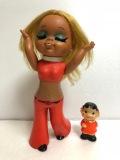 昭和レトロ☆70年代ファッション 女の子 ソフビ人形 大 29.0cm 185g 当時物 JAPAN製 現状 【AT420】