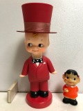 珍☆大きい☆キューピー☆昭和レトロ 首ふり ソフビ人形 シルクハット 25.0cm 160g JAPAN 版権有 現状 【AT438】