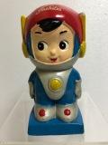 東芝☆エスパー坊や 陶器製 人形 貯金箱 11.8cm 130g 当時物 企業物 非売品 現状 【AT497】