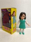 1986年☆箱入☆バンダイ☆天童夢子 ソフビ人形 11.3cm ゲゲゲの鬼太郎 当時物 版権有 現状 【AT609】