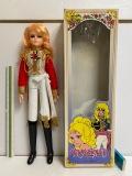 大型☆赤系☆箱付☆アサヒ ベルサイユのばら オスカル 人形 42.5cm 当時物 JAPAN 版権有 現状 【AT896】