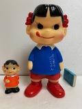 大きい☆不二家☆幼稚園 ペコちゃん☆ソフビ人形 22.3cm 200g 復刻版 企業物 現状 【AT930】