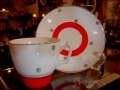 イギリス製 アンティーク 白×赤 陶器製 カップ&ソーサー 【AW0016】