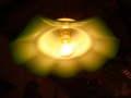 イギリス ミルクガラス&グリーンフリルのアンティーク ランプシェード [AW0310]