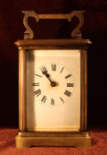 枕時計 フランス製 手巻き式 スケルトン 真鍮製 現状 【AW1006】