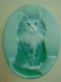 レア!ネコ メノウカメオ ブルーが綺麗♪ルース 【JU0074】