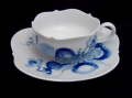 ドイツの名窯 現代マイセン ブルーオニオン オーキッド ティーカップ&ソーサー【NW0138】