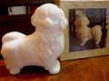 オールド AVON/エイボン ミルクガラス ペキニーズ犬/イヌのパフューム・コロンボトル/香水ビン 【SA0089】