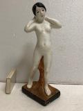 昭和レトロ 裸婦 ヌード セクシー 女性 陶器製 人形 大 18.7cm 175g 当時物 現状 詳細不明 【TO163】