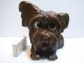 ヨークシャテリア(?)時計 ドイツ製 1940年代 目玉が時計 置時計 13.5cm 犬 現状 【TO2675】