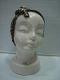 大正ロマン 陶器製 女性の顔 モダンガール アールデコ 16.0cm 360g 当時物 現状 詳細不明 【TO3317】