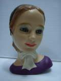 陶器製 気品のある女性 ヘッドベース ドール 17.0cm 260g 当時物 現状 詳細不明 【TO3492】