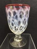 希少☆氷コップ 水玉柄 赤縁 なつめ型 12.5cm 吹きガラス 大正 昭和 和ガラス 当時物 現状 【TO3747】