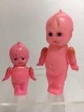 2体セット☆セルロイド ピンク キューピー 人形 9.8cm 当時物 JAPAN 現状 【TO3996】