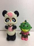 希少☆パンダ ゼンマイ式 ソフビ人形 14.5cm 110g 当時物 JAPAN 刻印有 現状 動作確認済 【TO4374】
