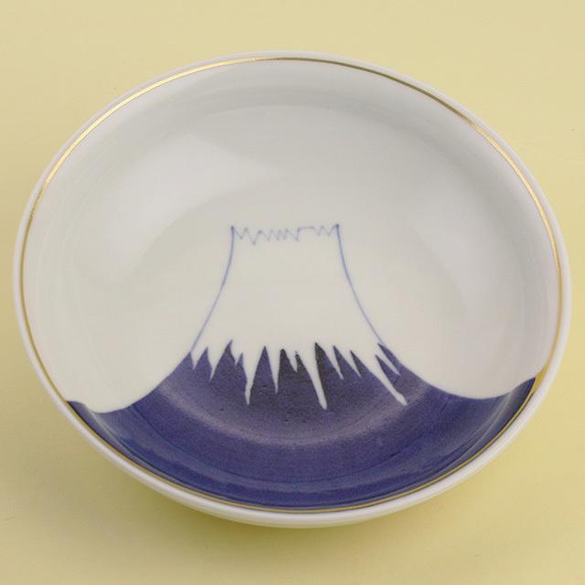 染付富士山 5寸浅鉢(金付)