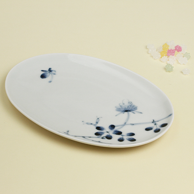 野ばら 楕円皿