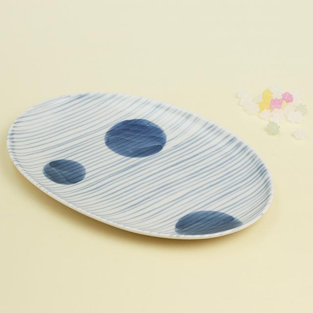 丸紋十草 楕円皿