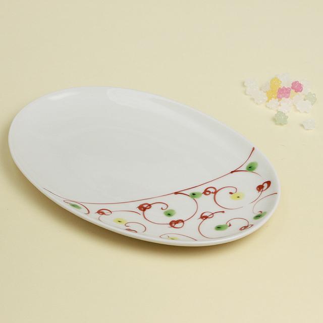 赤絵唐草 楕円皿