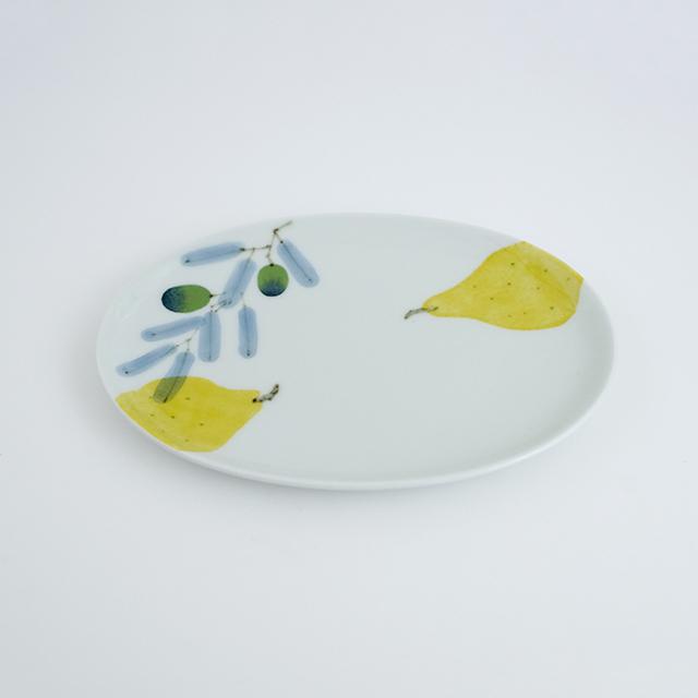 波佐見焼 陶房青 和食器 器 うつわ マティーニ 北欧 和紙染め オリーブ 洋梨 楕円皿 プレート