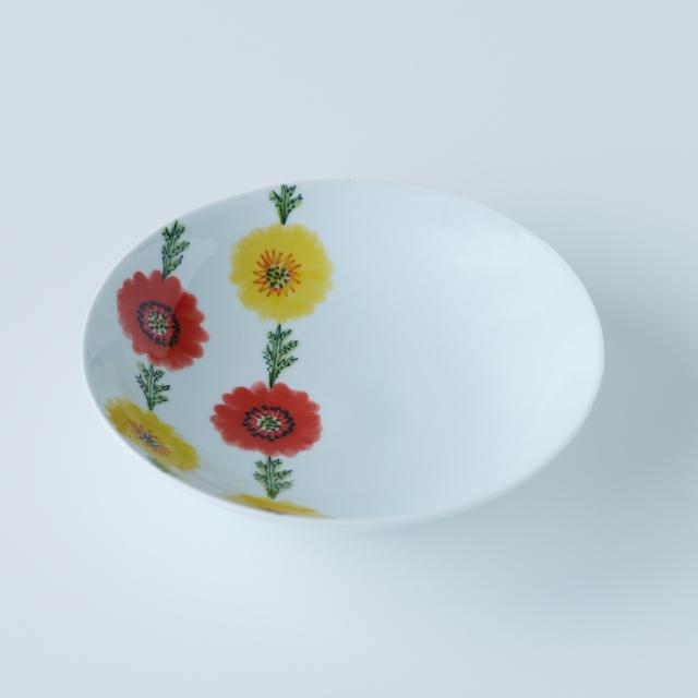 波佐見焼 陶房青 和食器 器 うつわ 鉢 ボウル うすで 7寸鉢 フローラル ボタニカル