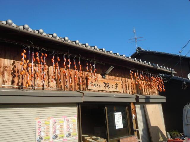 鶴の子柿を干している写真