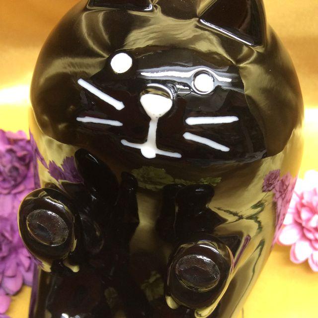 黒猫スマホ陶器