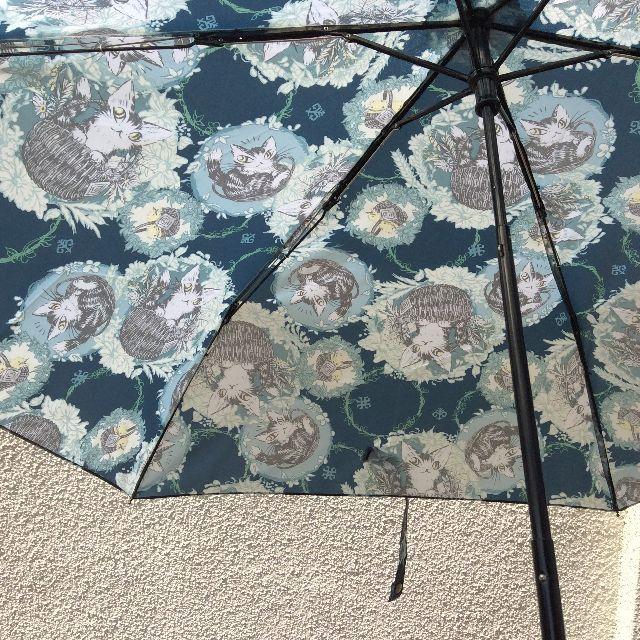 ダヤンの折りたたみ傘を開いた内側の画像