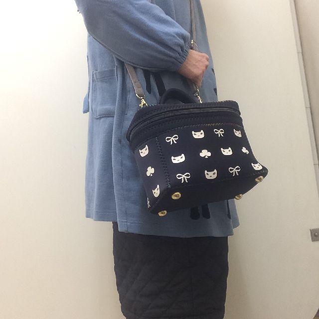 プチニャのバニティバッグを肩から下げた画像