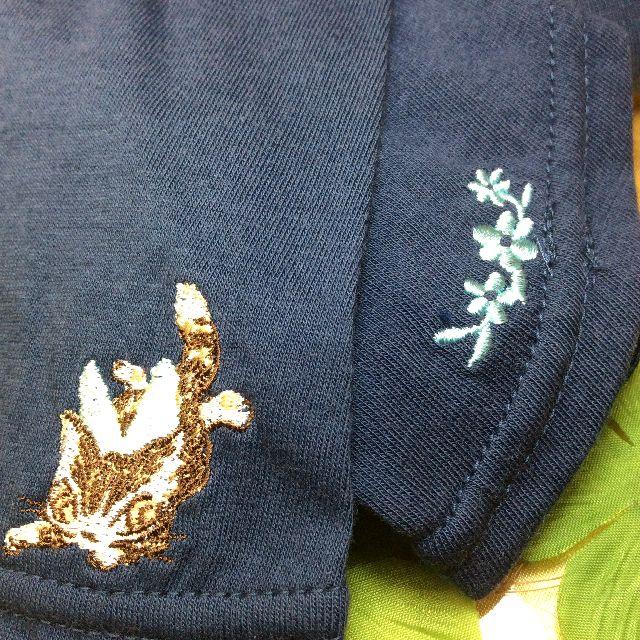 ダヤンのUVロング手袋フェアリーの刺繍部分のクローズアップ画像