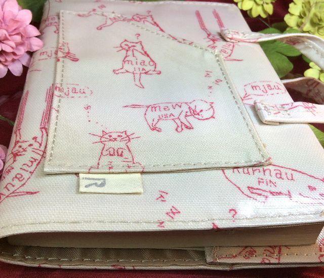 ルートートバッグ型ラミネート猫柄ブックカバーの全体画像