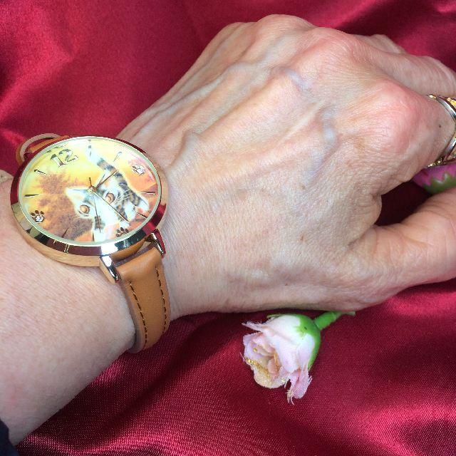 ダヤンの腕時計「光の中」を腕に嵌めた画像