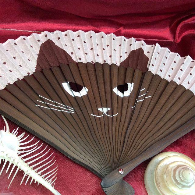 水玉猫の顔扇子の全体画像