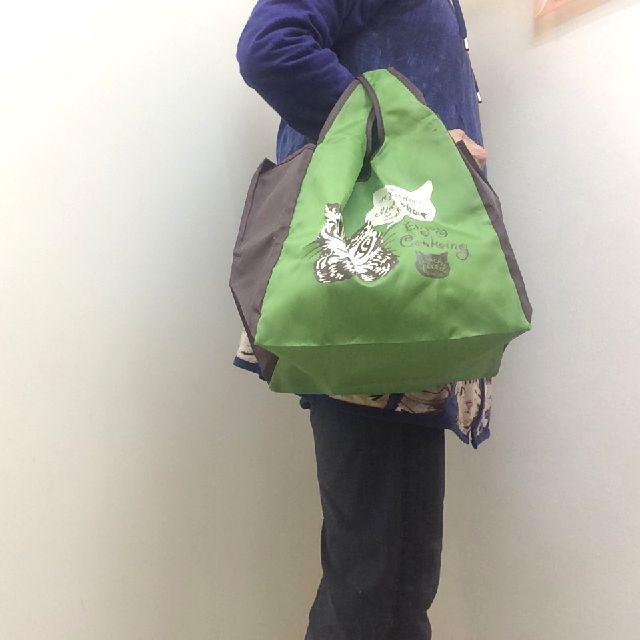 猫のダヤンのコンビニエコバッグ緑色を手に持った画像