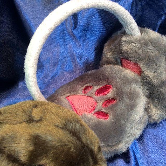 フェリシモ猫部のモフモフカチューシャイヤーマフの内側と全体画像