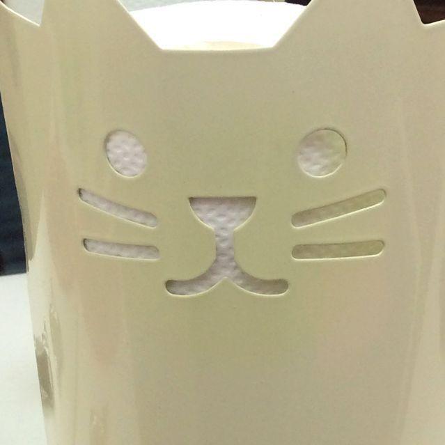 デコレ猫トイレットペーパーストッカーの猫の顔部分アップ画像