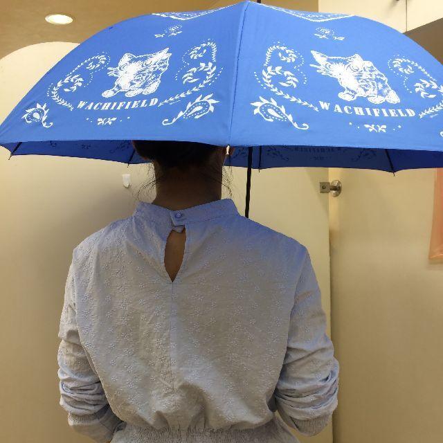 猫のダヤンの長傘「おさんぽ・猫模様」柄を差した画像