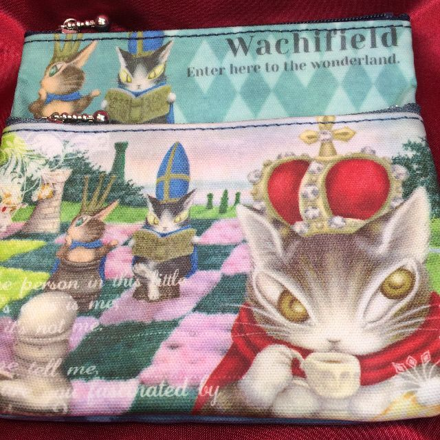 猫のダヤンのWミニポーチ「悠長な試合」柄の全体画像