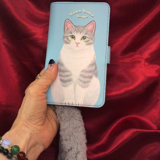 フェリシモ猫部シッポ付きスマホケースブック型トラ猫柄の全体画像
