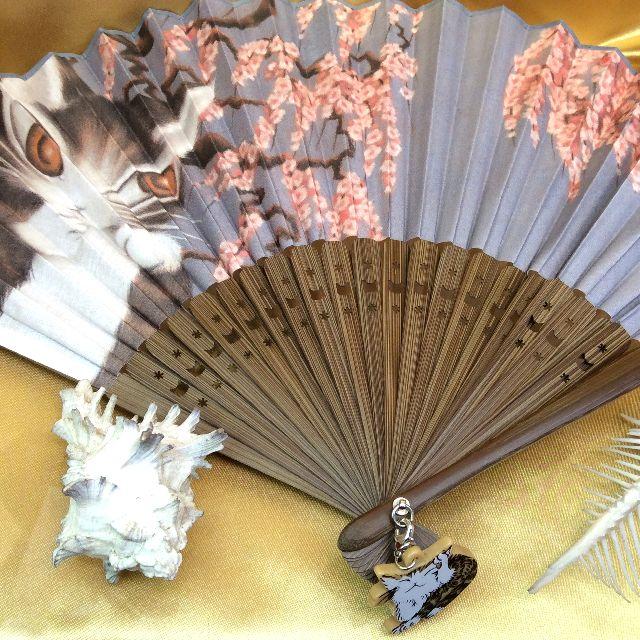 ダヤンの謎かけ梅柄の扇子の全体画像