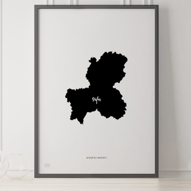-Japan Map Poster-岐阜