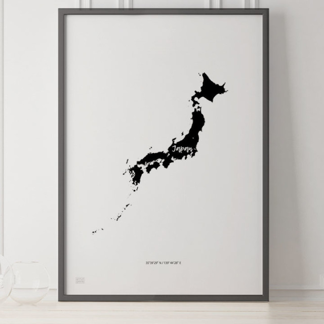 -Japan Map Poster-日本