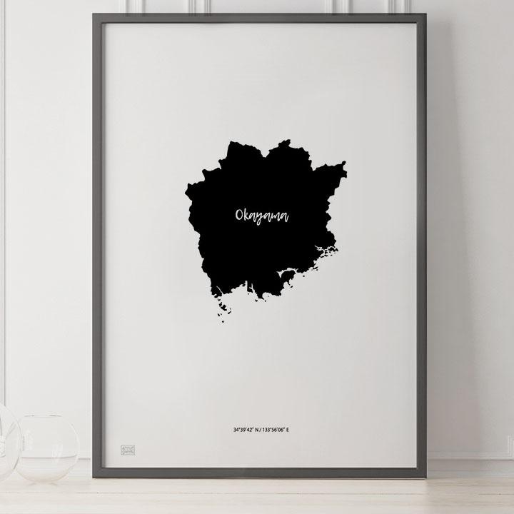 -Japan Map Poster-岡山