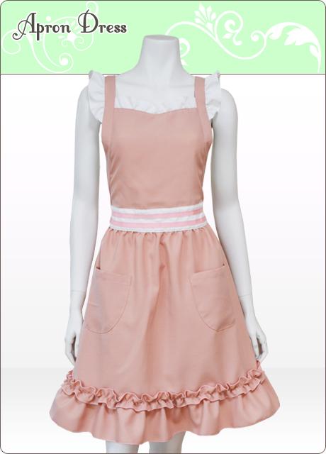 ピンク色の胸元をハート型にしたかわいいフリルエプロンドレス。お洗濯後の渇きが早く、しわになりにくいのでアイロンがいりません。