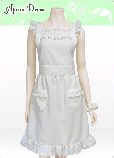 ミルクホワイト/マチュア胸元フリル エプロンドレス(シュシュ付き)