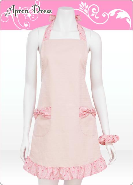 ピンク&プチフラワー/ポケットリボンスリムエプロン