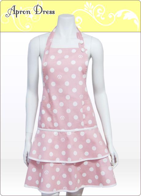 ピンク/ホワイト水玉ティアードエプロン【シュクココロ ロゴ入り】(シュシュ付き)綿100%