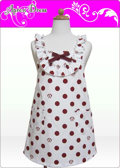 キッズエプロン・ラブリー☆三角巾あり・なし選択(チェリーレッドSCロゴ水玉)綿100%