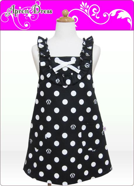 キッズエプロン・ラブリー☆三角巾あり・なし選択(ブラック/ホワイトSCロゴ水玉)綿100%