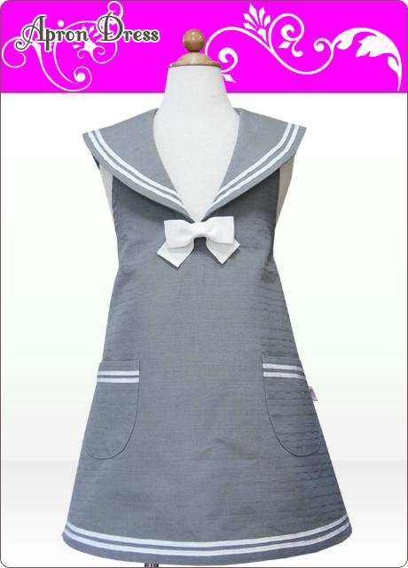 キッズエプロン・セーラー☆三角巾付き(カラー/シルバーグレー)